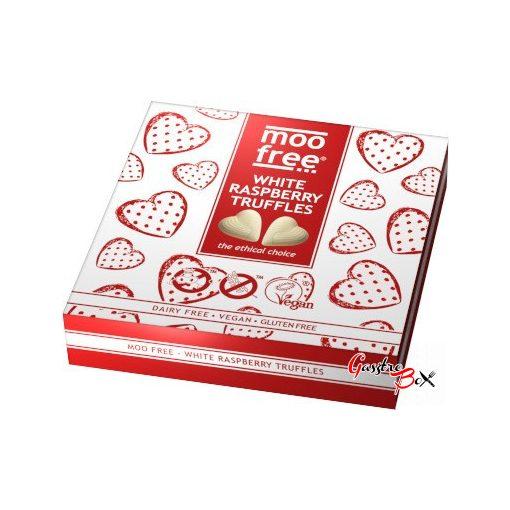 MOO FREE Fehércsokoládé jellegű Málnás szív Praliné LF, GF, Vegan